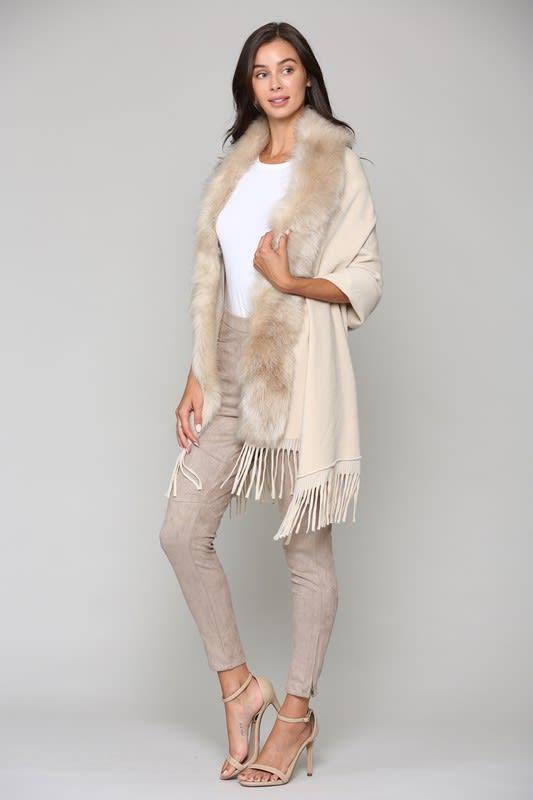 Faye Fur Wrap - Khaki - Front