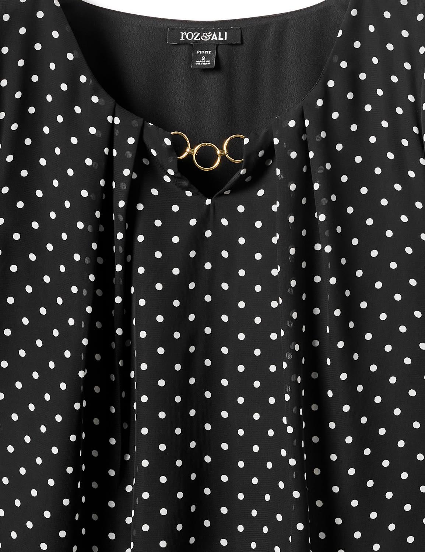 Dot Bubble Hem Woven Blouse-Petite - Black - Front