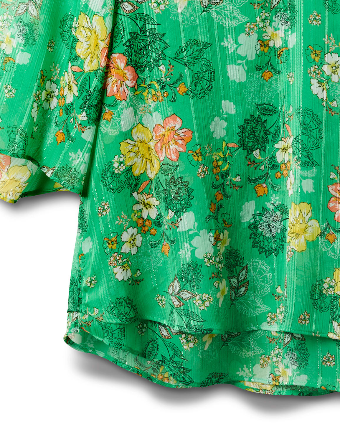 Green Floral Fly Away Back Blouse - Green - Front