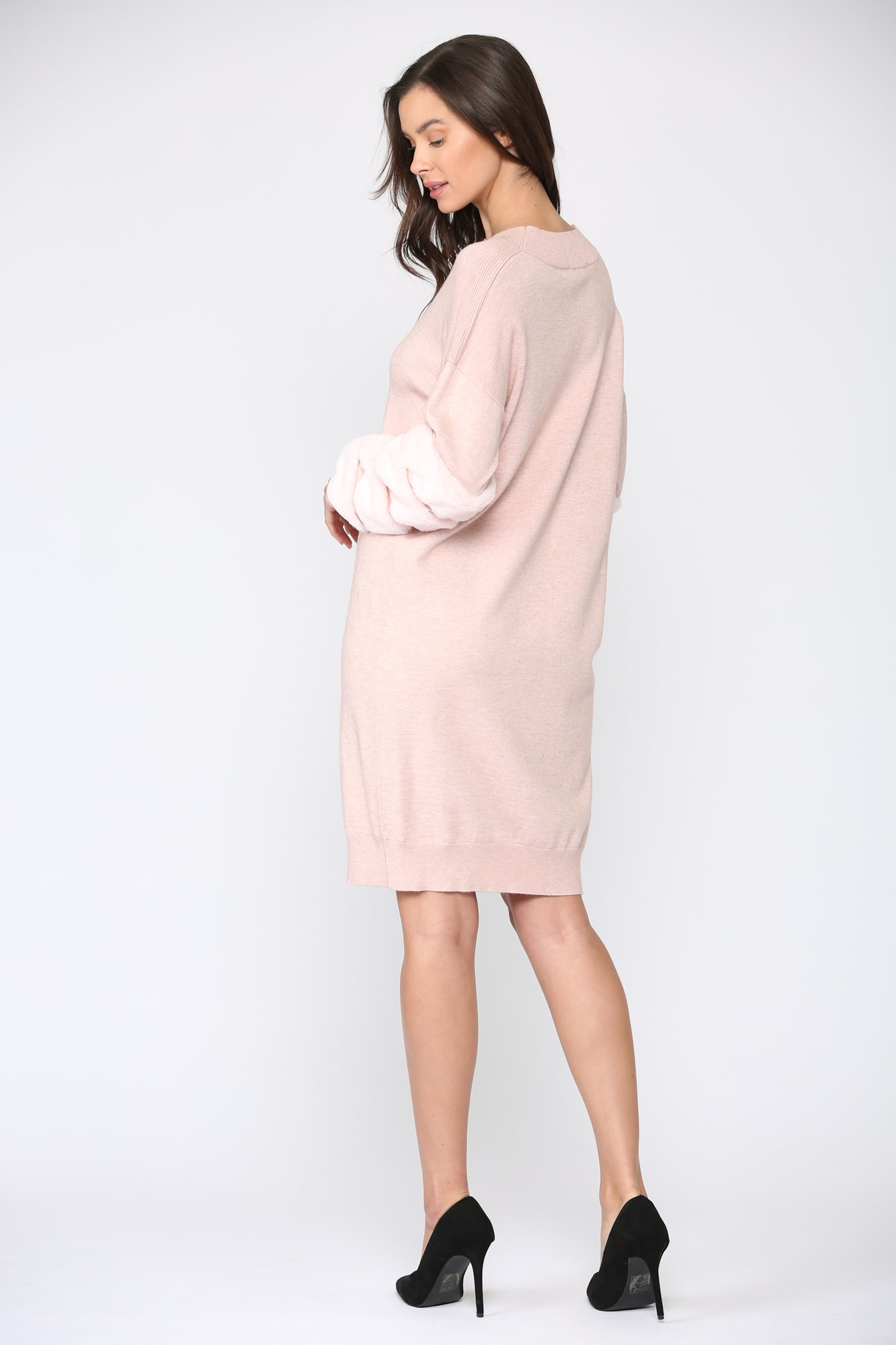Sonia Fur Dress - Pink - Front