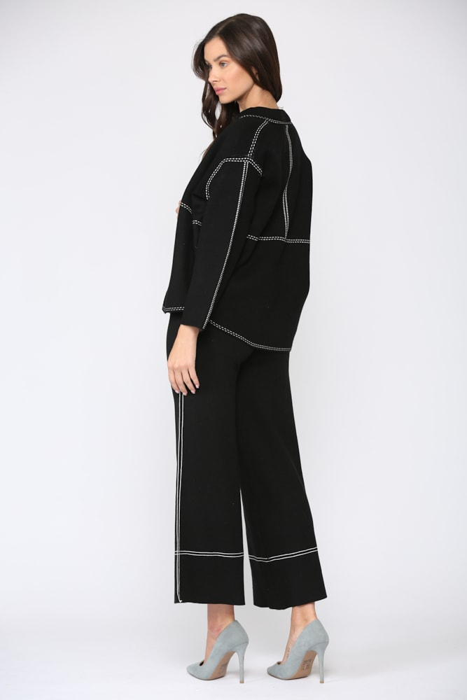 Stacia Ribbed Knitted Jacket - Black - Front