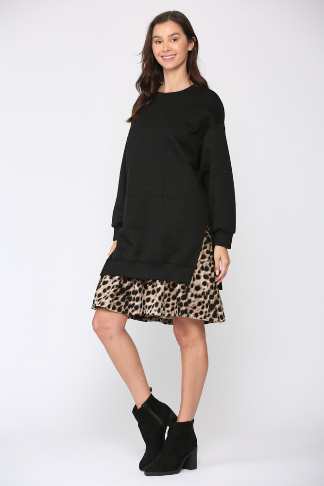 Fae Animal Print Dress - Black-Leopard - Front