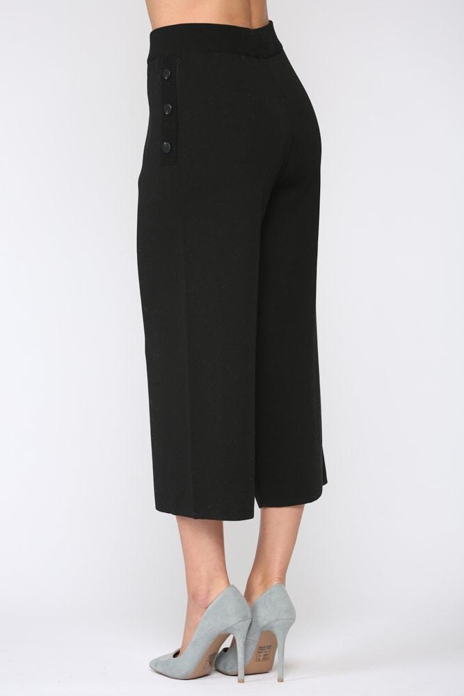 Sunia Rib-Knit Pant - Black - Front