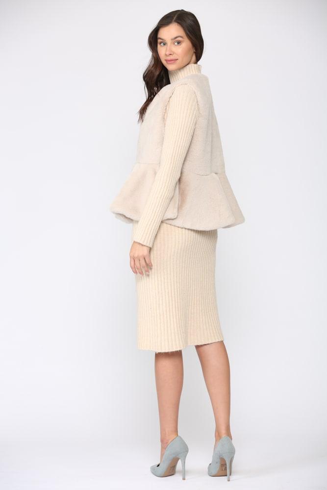 Jemma Fur Vest - Light beige - Front