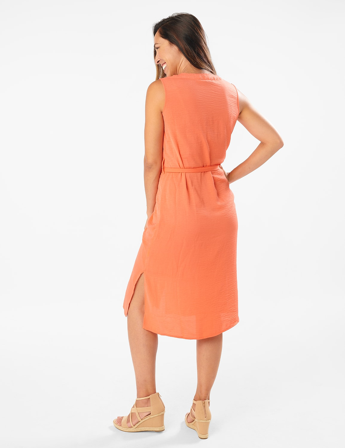 Button Front  Dress - Ember Glow - Front