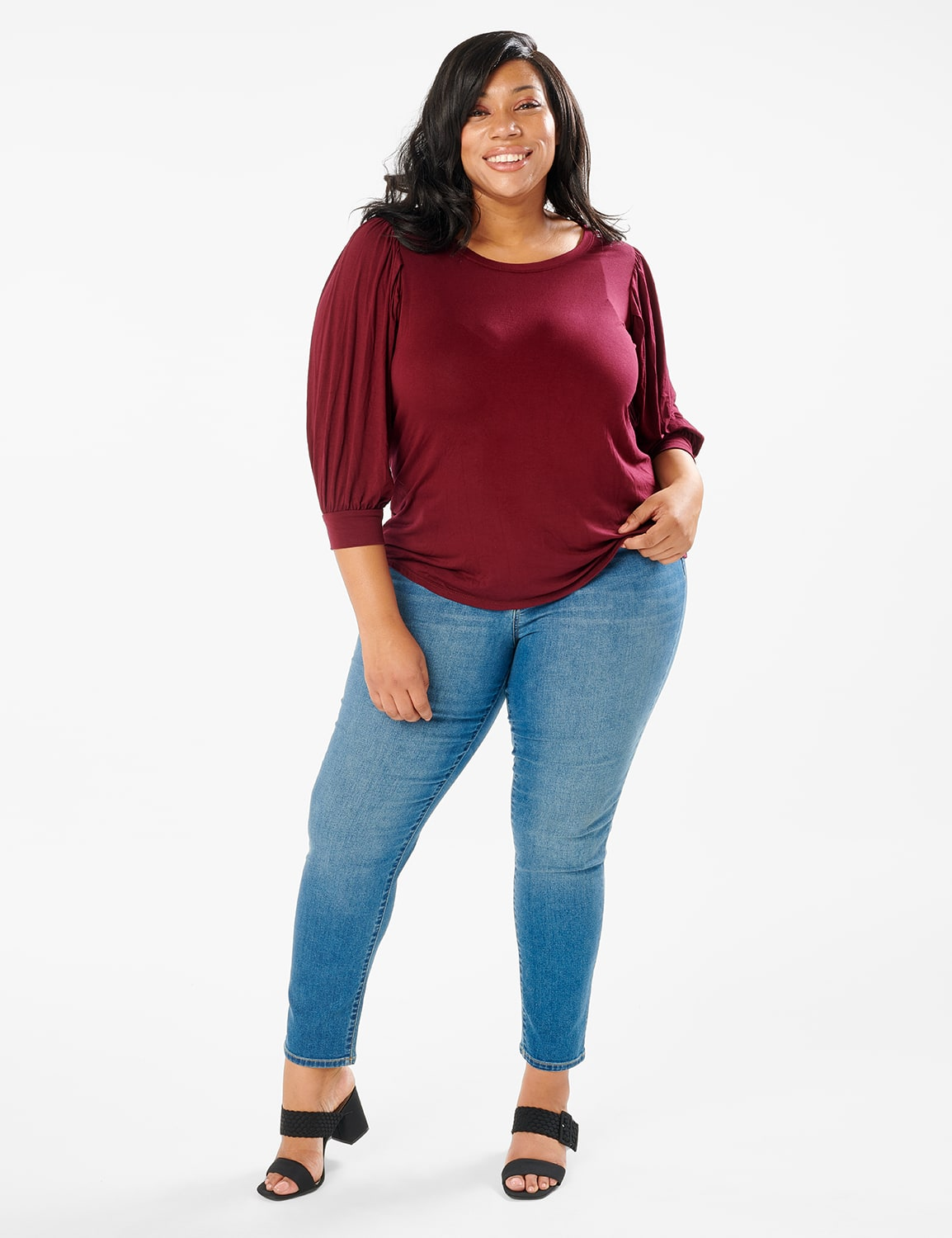 3/4 Sleeve Scoop  Puff Sleeve Knit Top - Plus - Wine - Front