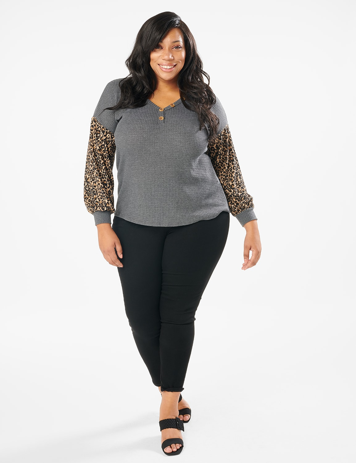 Y Henley Mixed Animal Thermal Knit Top - Plus - Grey - Front
