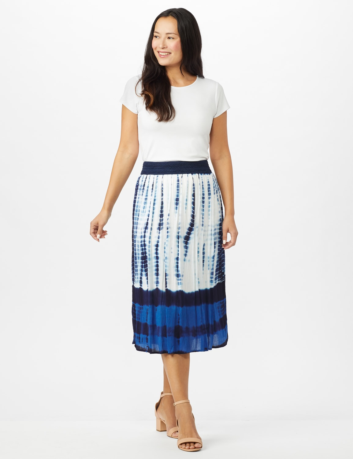 Rayon Gauze Skirt with Decorative Waistband - Blue/white - Front