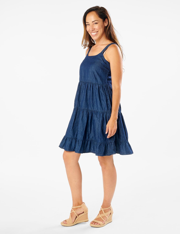 Denim Tiered Tank Dress - Dark Wash - Front