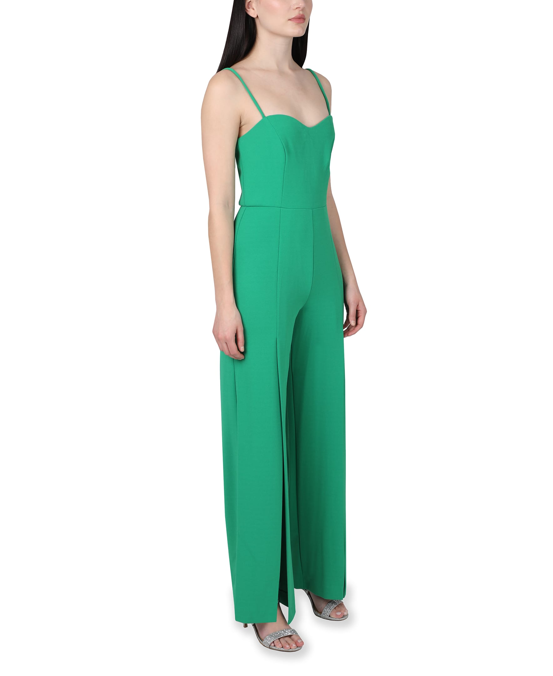 Bebe Open Leg Jumpsuit - green - Front