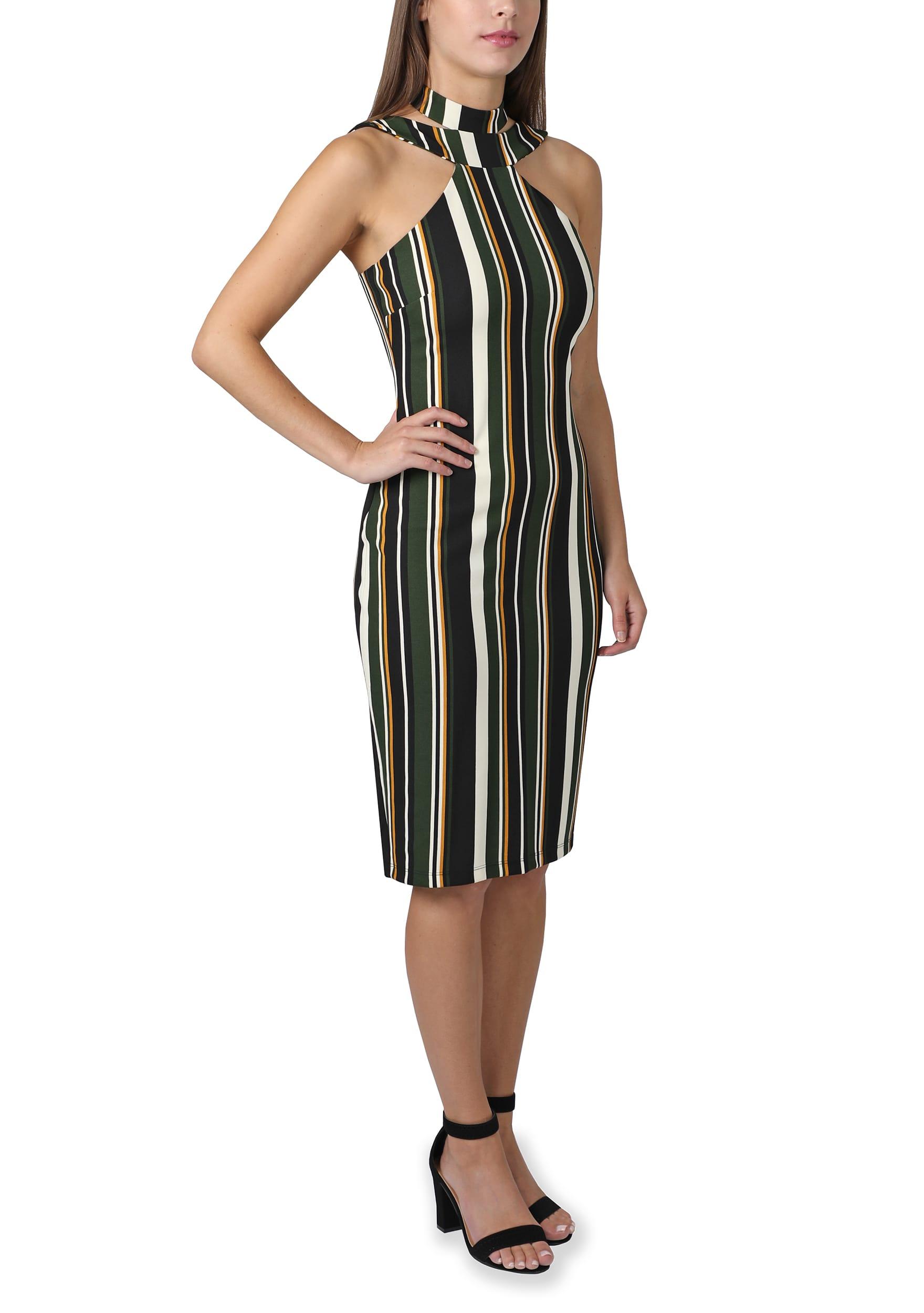 Bebe Stripe Halter Midi Dress - Green/multi - Front