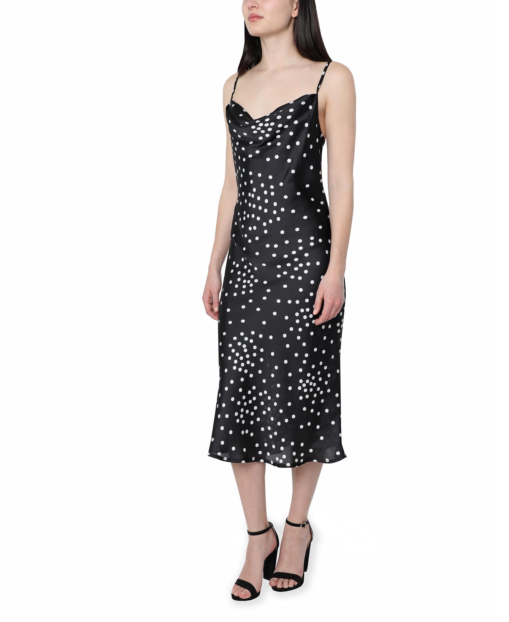 Bebe Polka Dot Satin Midi Dress - Black/white - Front