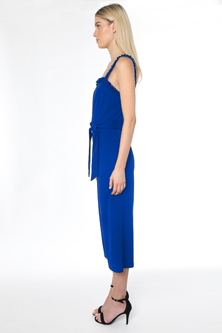 Bebe Waist Tie Cropped Jumpsuit - royal - Front