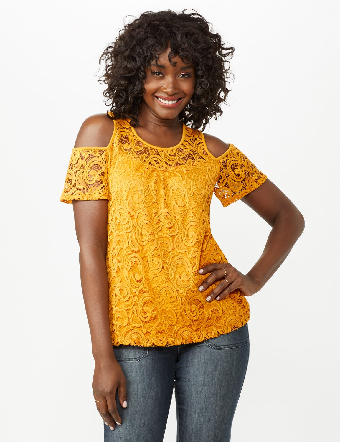 Lace Cold Shoulder Knit Top - Mustard - Front
