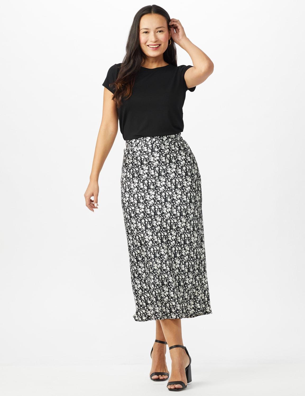 Floral Printed Slip Skirt - Black /White - Front