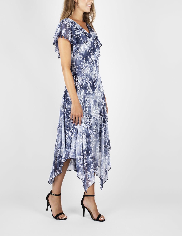Tie Dye Hanky Hem Dress - Blue - Front