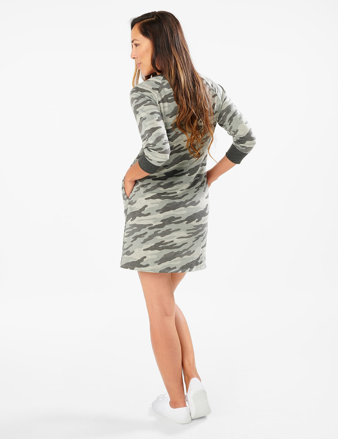 Camouflage Knit Dress - Misses - Charcoal - Front