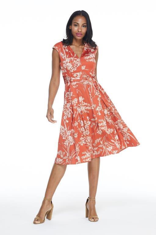 Ginger Floral Dress - Terracotta - Front