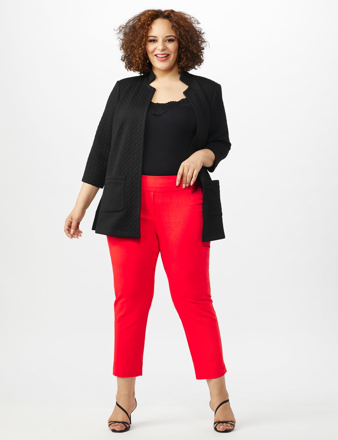Plus - L-Pocket Pull-On Crop Pants - Coralicious - Front