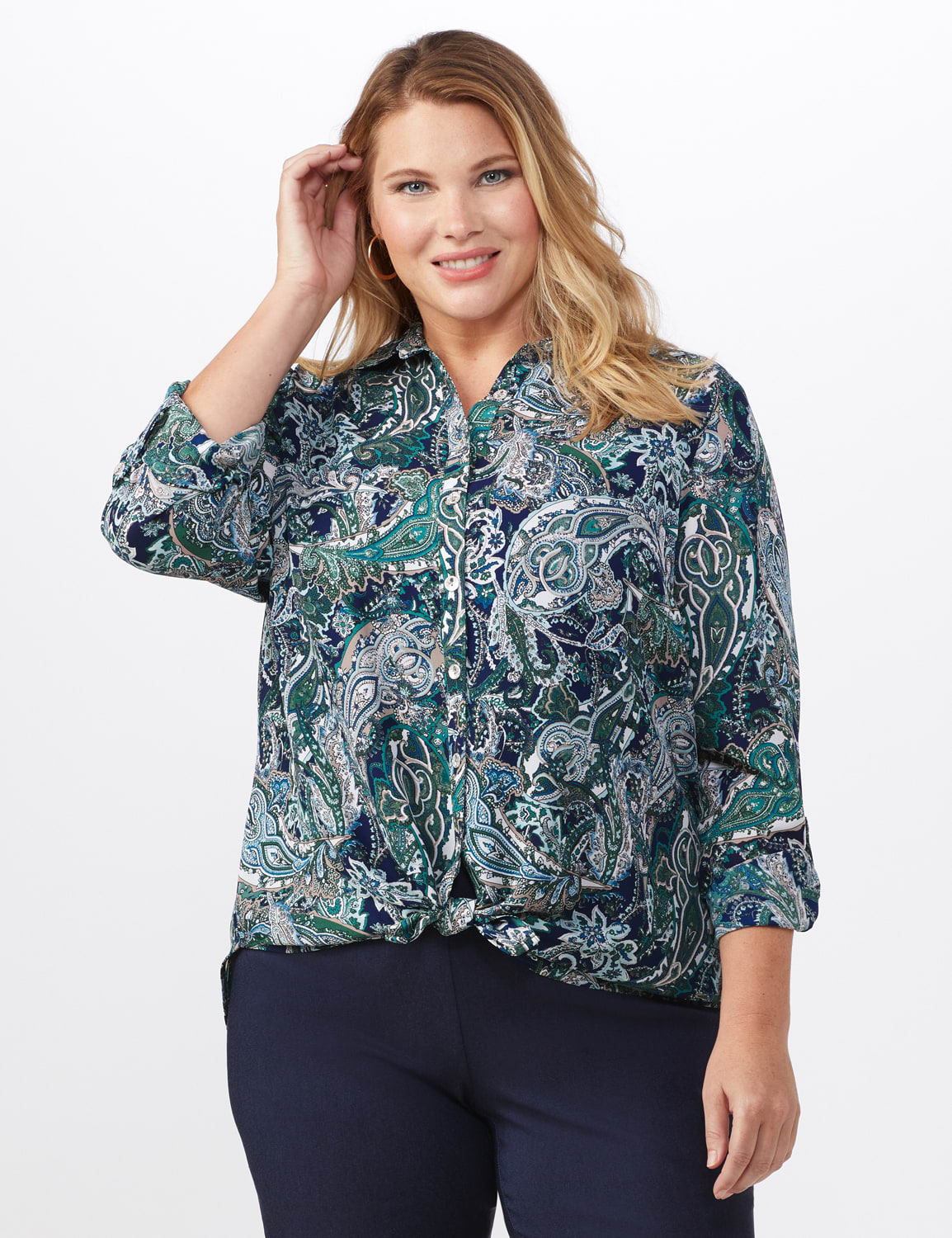 """Roz & Ali """"To Tie Or Not To Tie"""" Button Front Shirt - Plus - Navy - Front"""