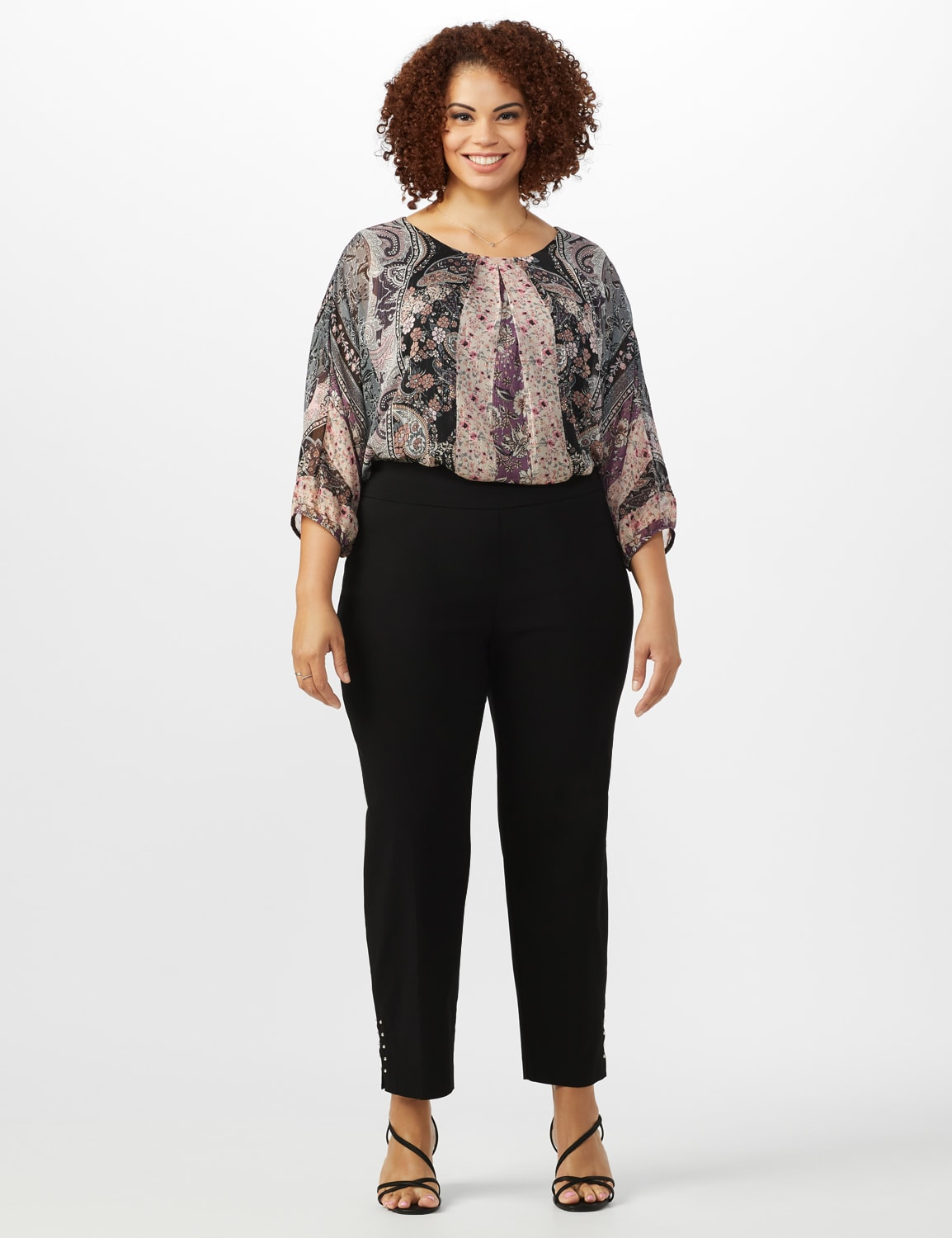 Roz & Ali Solid Superstretch Tummy Panel Pull On Ankle Pants With Rivet Trim Bottom - Plus - Black - Front