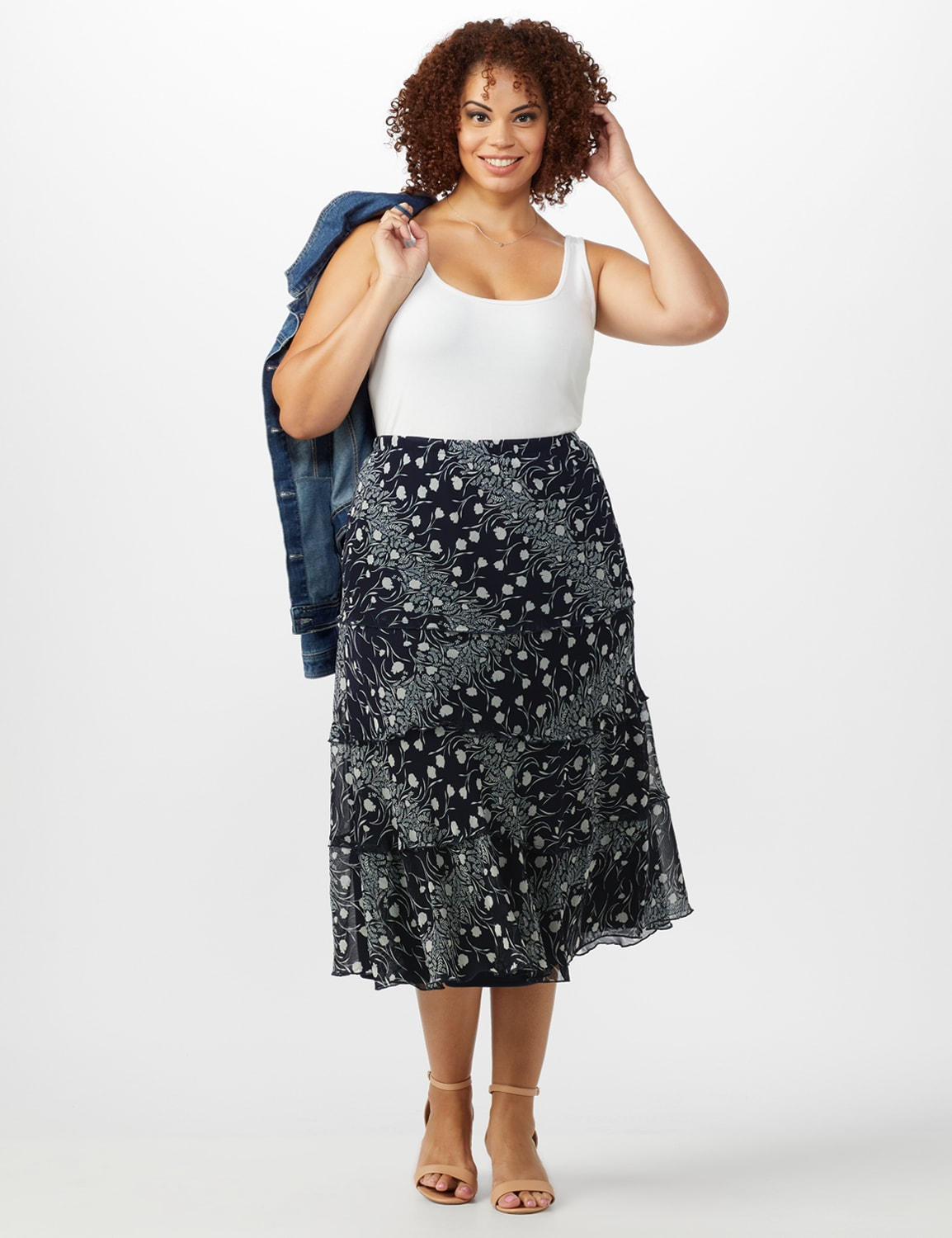 Bias Cut 4 Tiered Elastic Waist Pull On Skirt - Navy/Ivory - Front