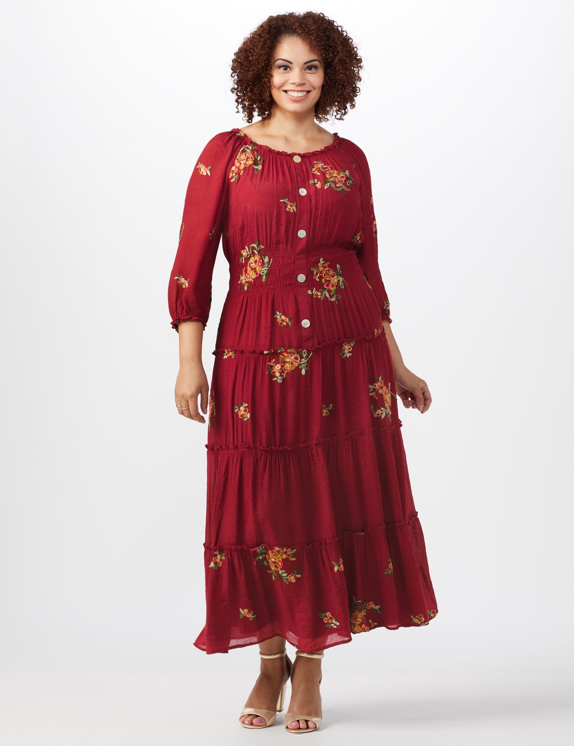 Embroidered  Textured Peasant Dress-Plus - Rust - Front
