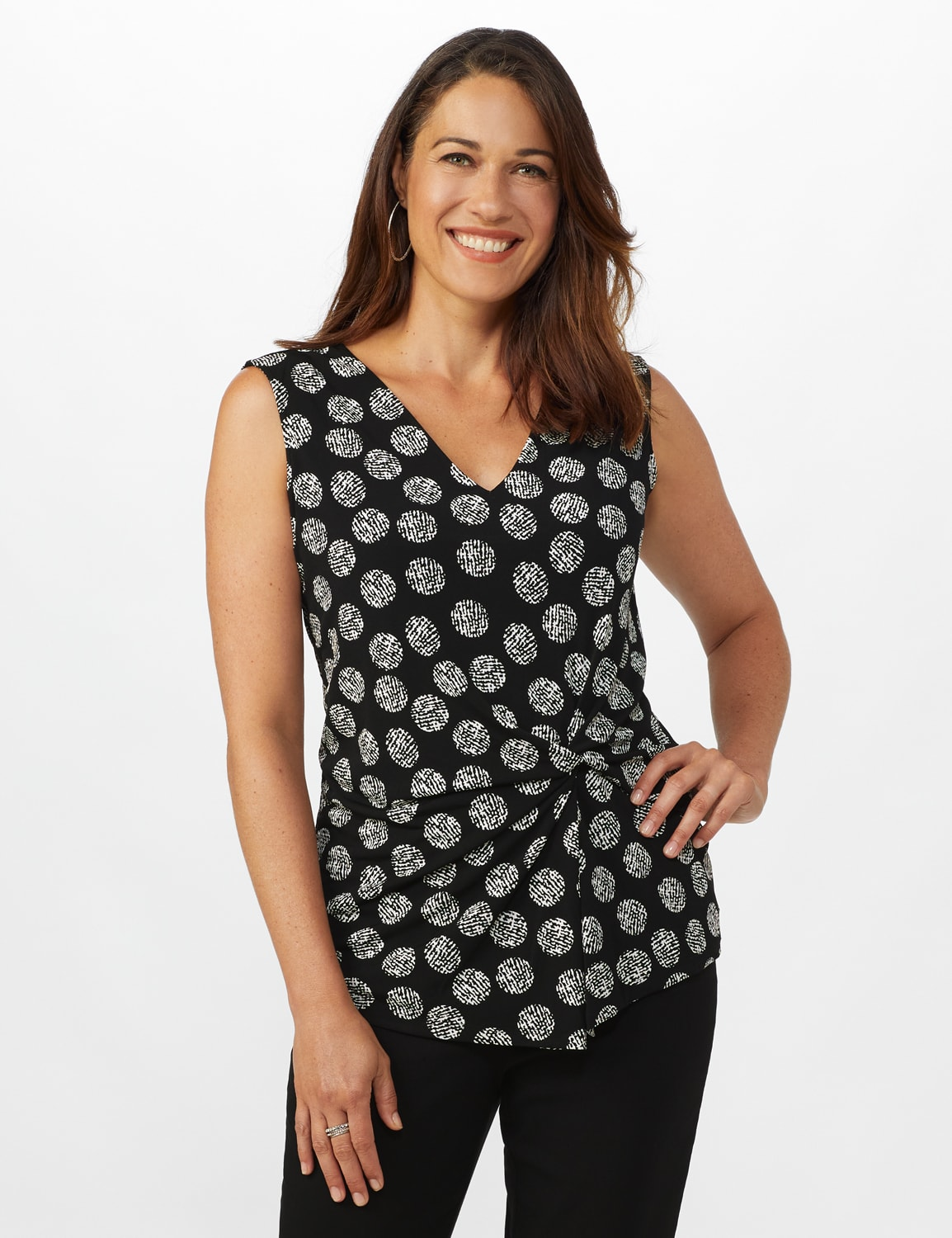 Sleeveless Geo Puff Print Knot Front Top - Black/White - Front