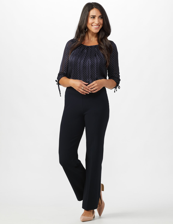 Roz & Ali Secret Agent Tummy Control Pants - Average Length - Navy - Front