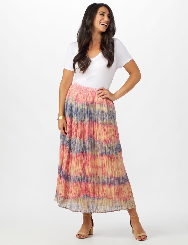 Pull On Crinkle Skirt - Indigo/ Coral - Front