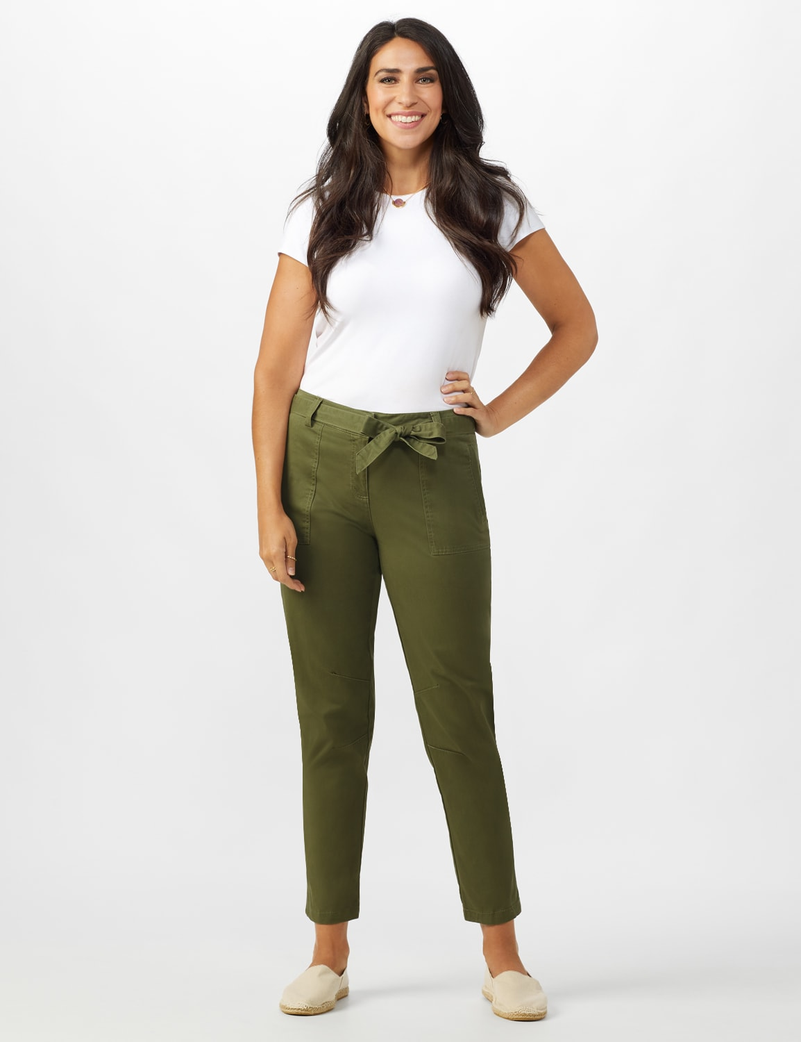 Garment Washed Twill Rolled Hem Tie Waist Pants - Olive - Front