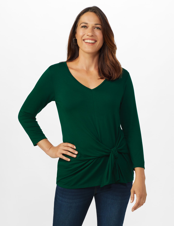 V-Neck Tie Front Knit Top - Misses - Hunter Green - Front