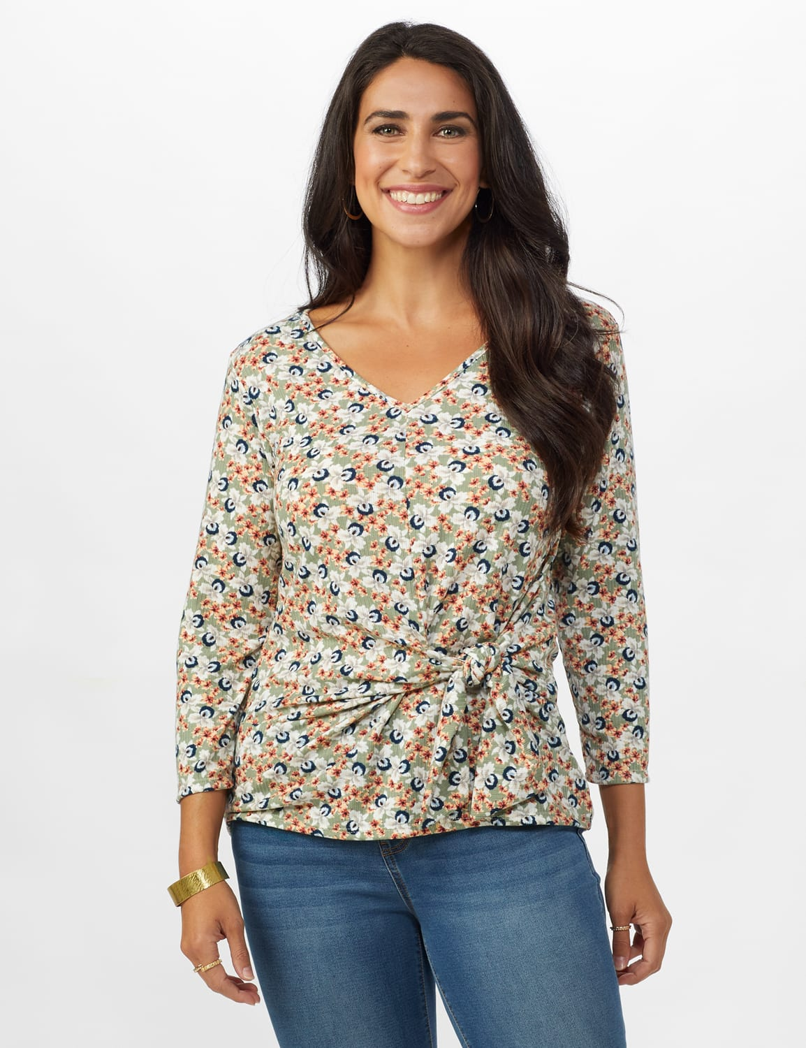 Small Floral Tie Front Knit Top - Sage/Peach - Front
