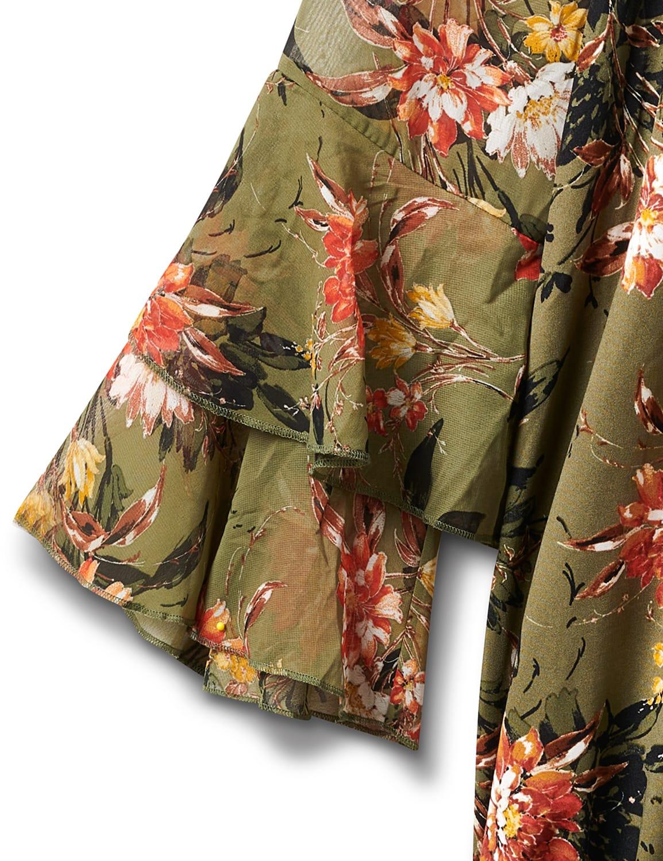 Novelty Sleeve Floral Print Knit Top - Olive/Burnt Orange/Gold - Front