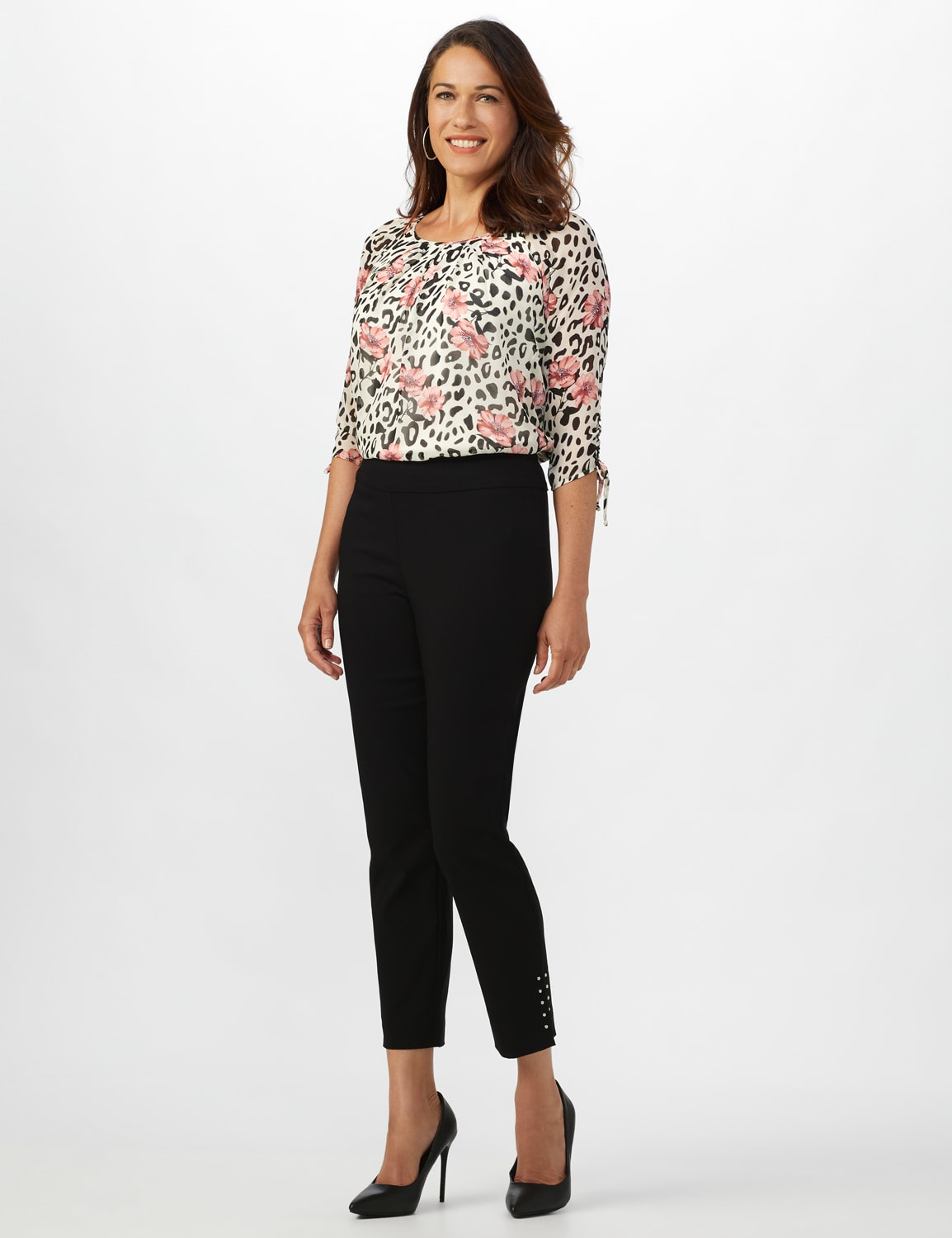 Roz & Ali Solid Superstretch Tummy Panel Pull On Ankle Pants With Rivet Trim Bottom - Misses - Black - Front