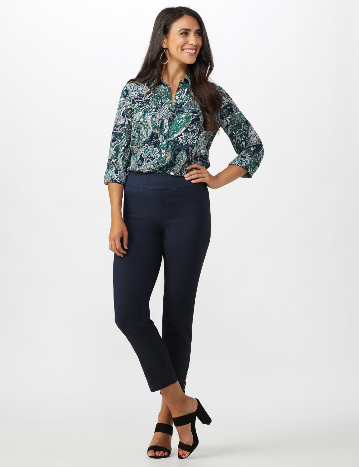 Roz & Ali Solid Superstretch Tummy Panel Pull On Ankle Pants With Rivet Trim Bottom - Misses - Dark Denim - Front