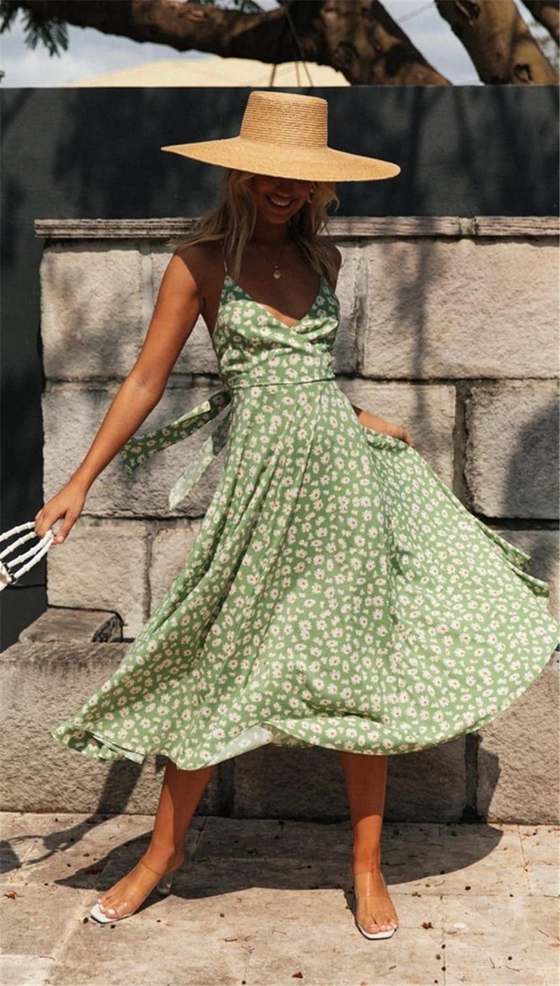 Spaghetti Strap Slip-on Dress - Misses - Green - Front