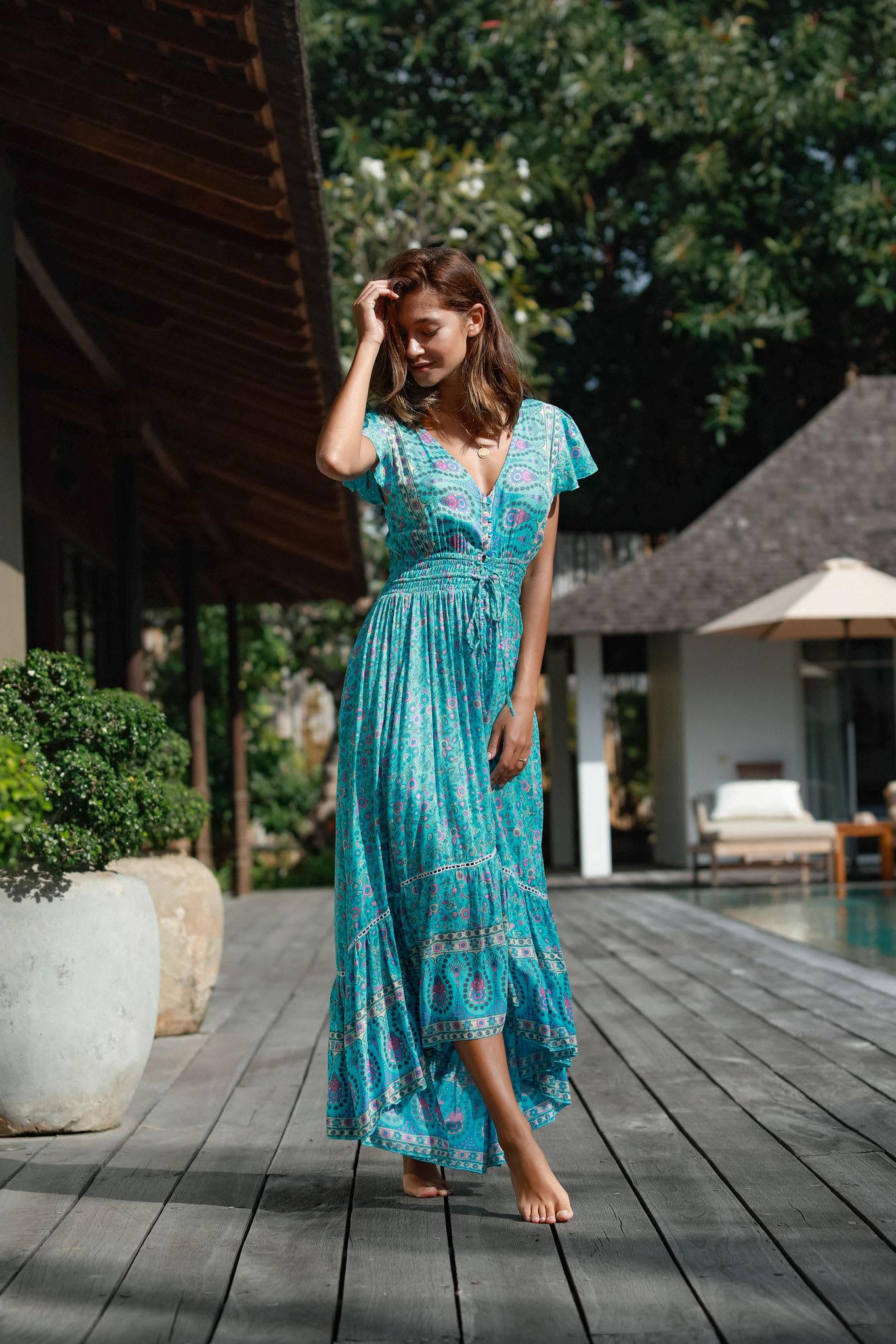 Aqua Long Dress - Aqua - Front