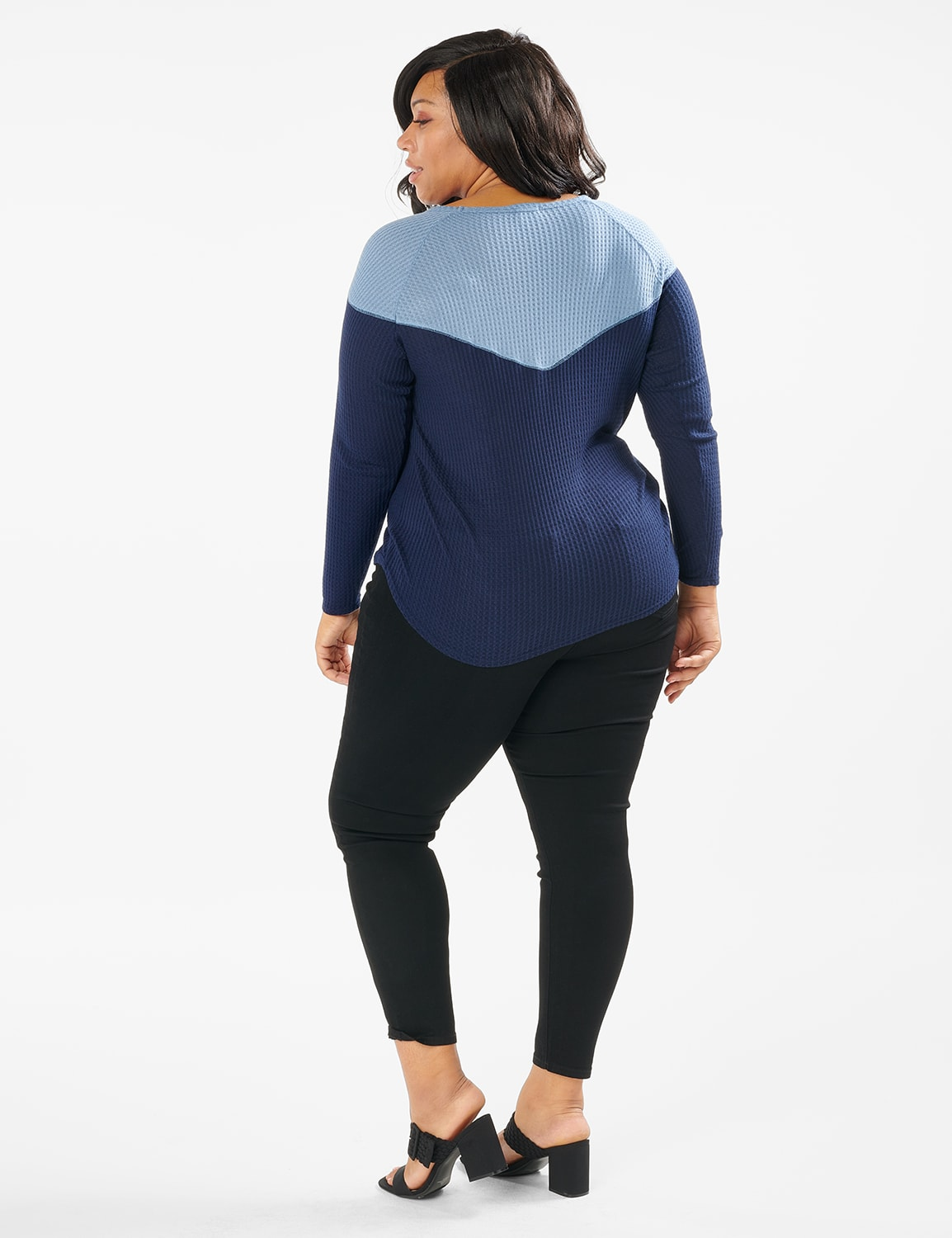Denim Friendly Color Block Thermal Knit Top - Plus - Navy - Front