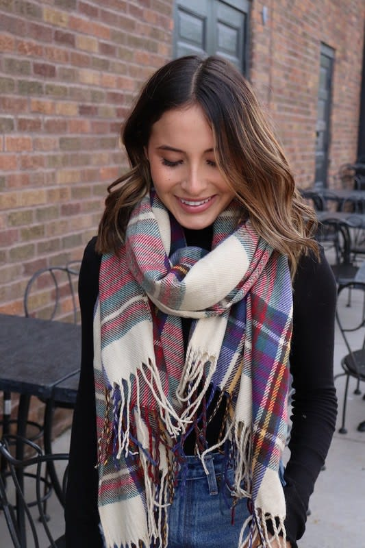 Classic and Youthful Plaid Scarf - Tan - Front