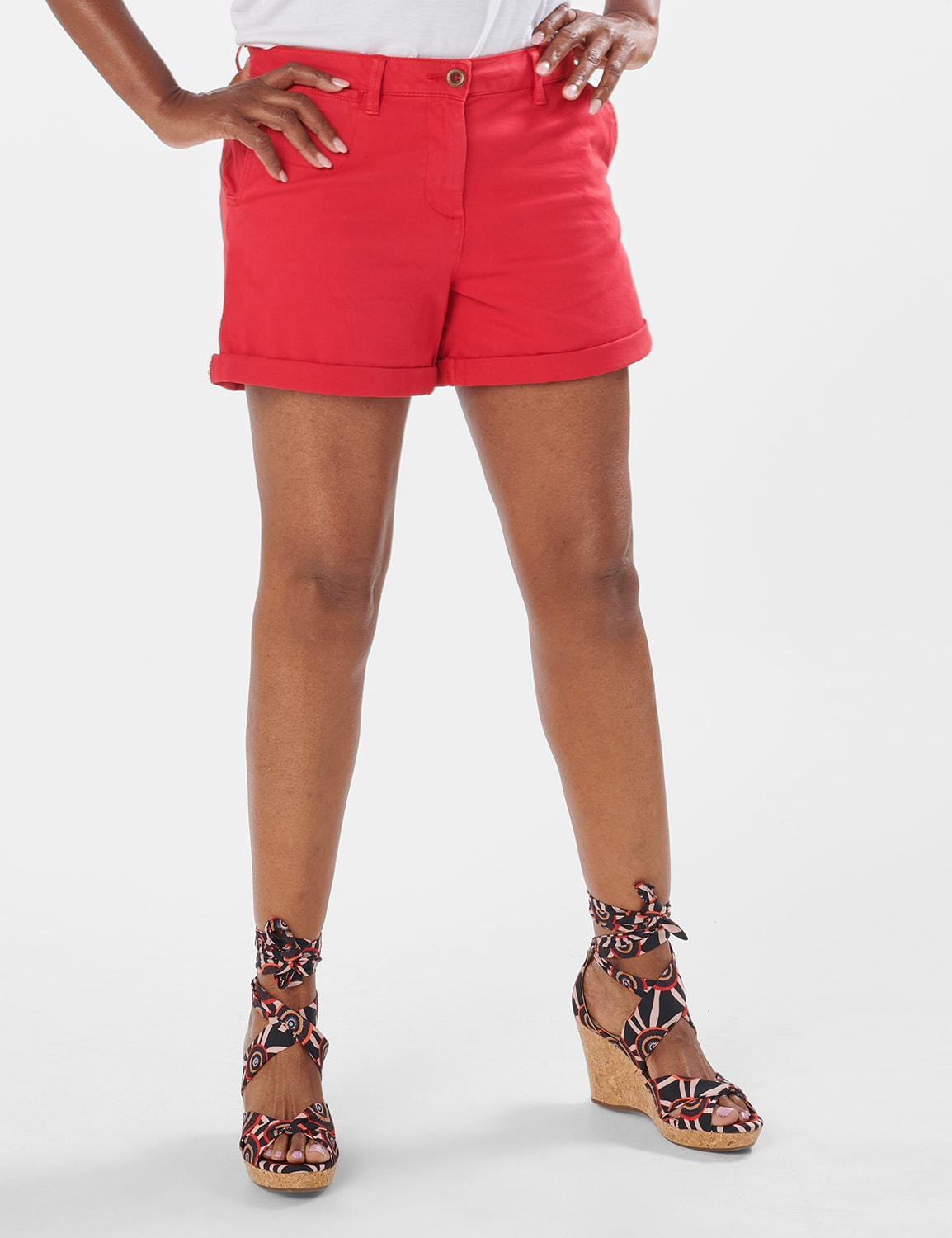 Fly Front Slash Pocket Shorts with Rolled Cuffs - Red - Front