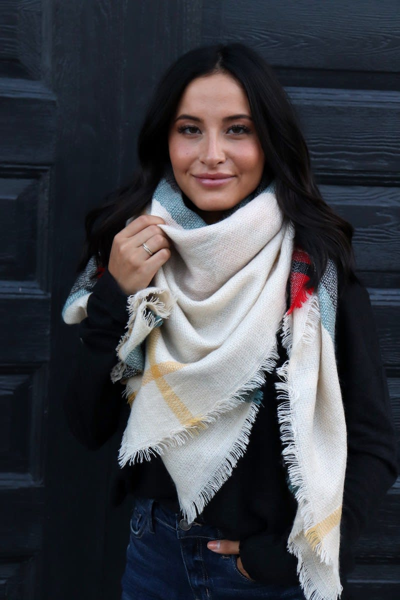 Warm Colors Blanket Scarf - Cream - Front