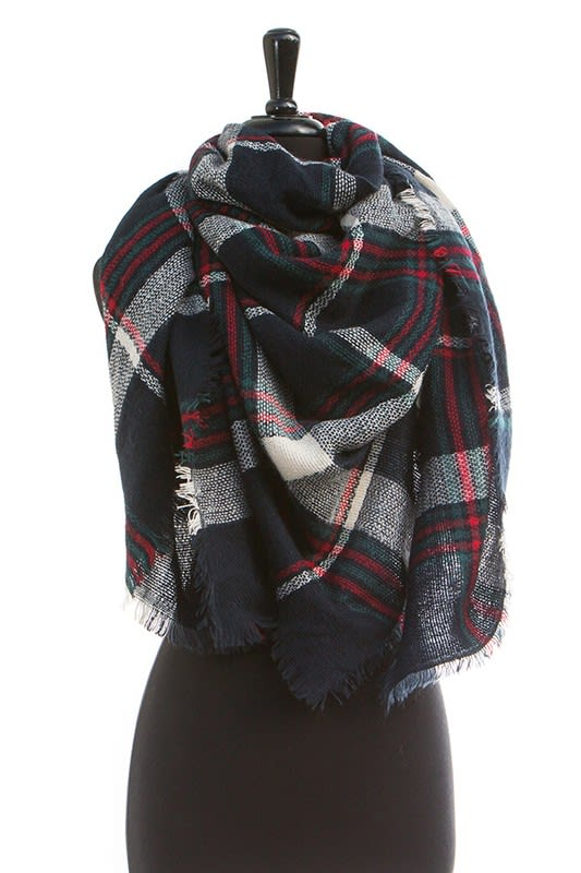 Striped Navy Blanket Scarf - Navy - Front