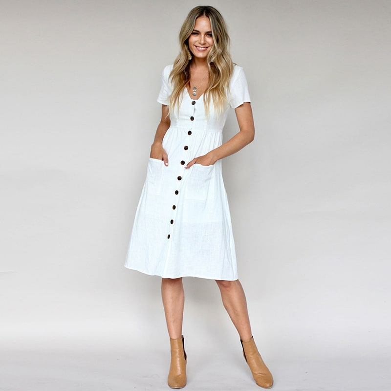 Buttoned V-Neck Dress With Pockets - White - Front