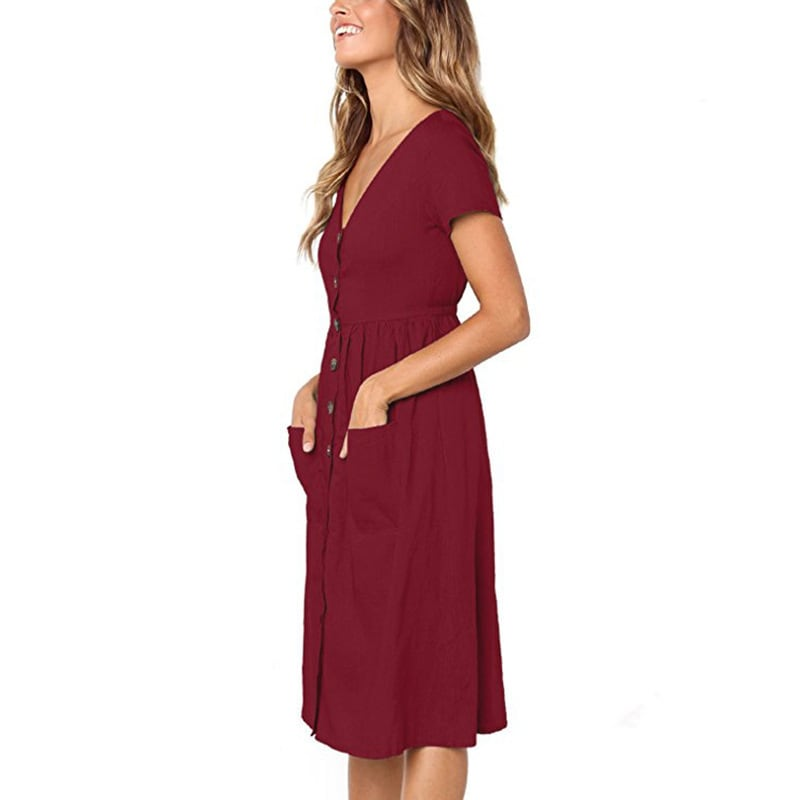 Buttoned V-Neck Dress With Pockets - Maroon - Front