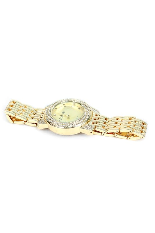 Gold-Tone Femme Watch with a Swirl of Gems - Gold - Front