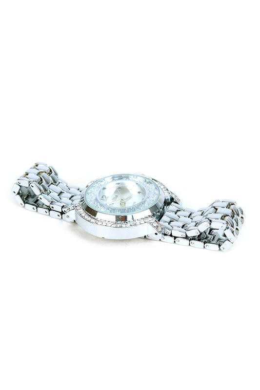 Silver-Tone Bracelet Watch with Stones - Silver - Front