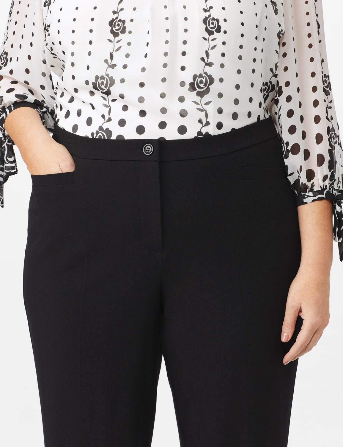 Roz & Ali  Plus Secret Agent Trouser  Pants with Cat Eye Pockets & Zip - Black - Front