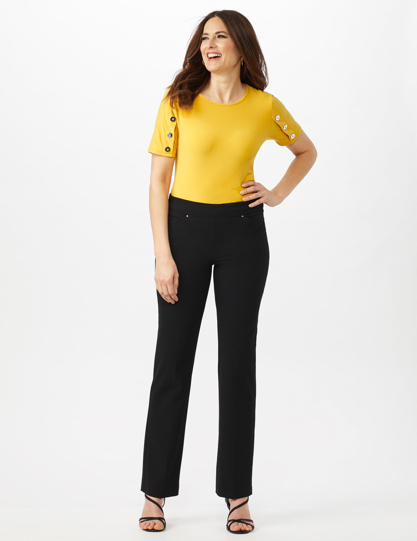 Roz & Ali Secret Agent Tummy Control Pants Cateye Rivets - Average Length - Misses - Black - Front