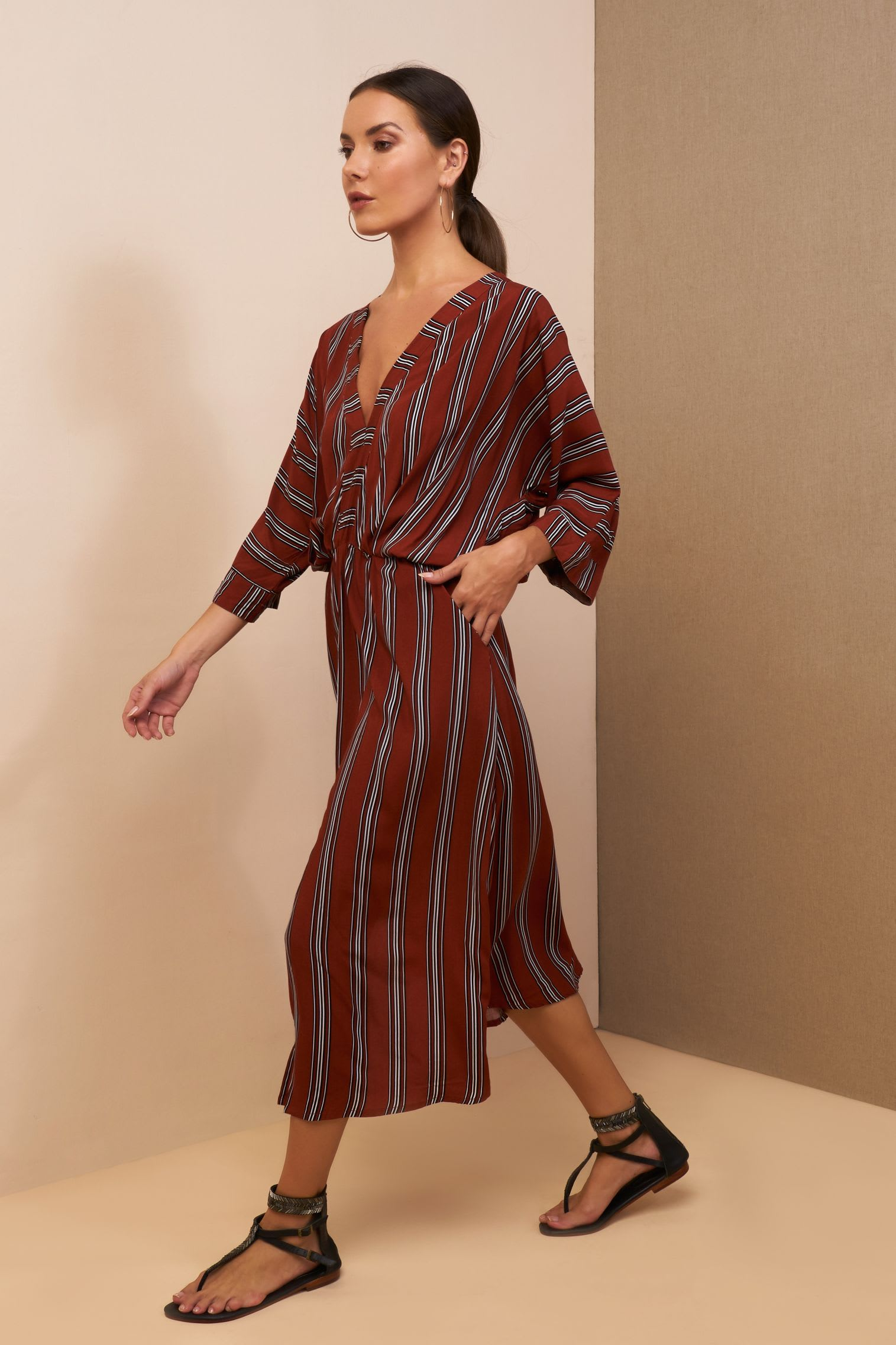 Kaftan Striped Dress - Red stripe - Front